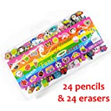 24 Quality Funky Pencils with Funky Erasers