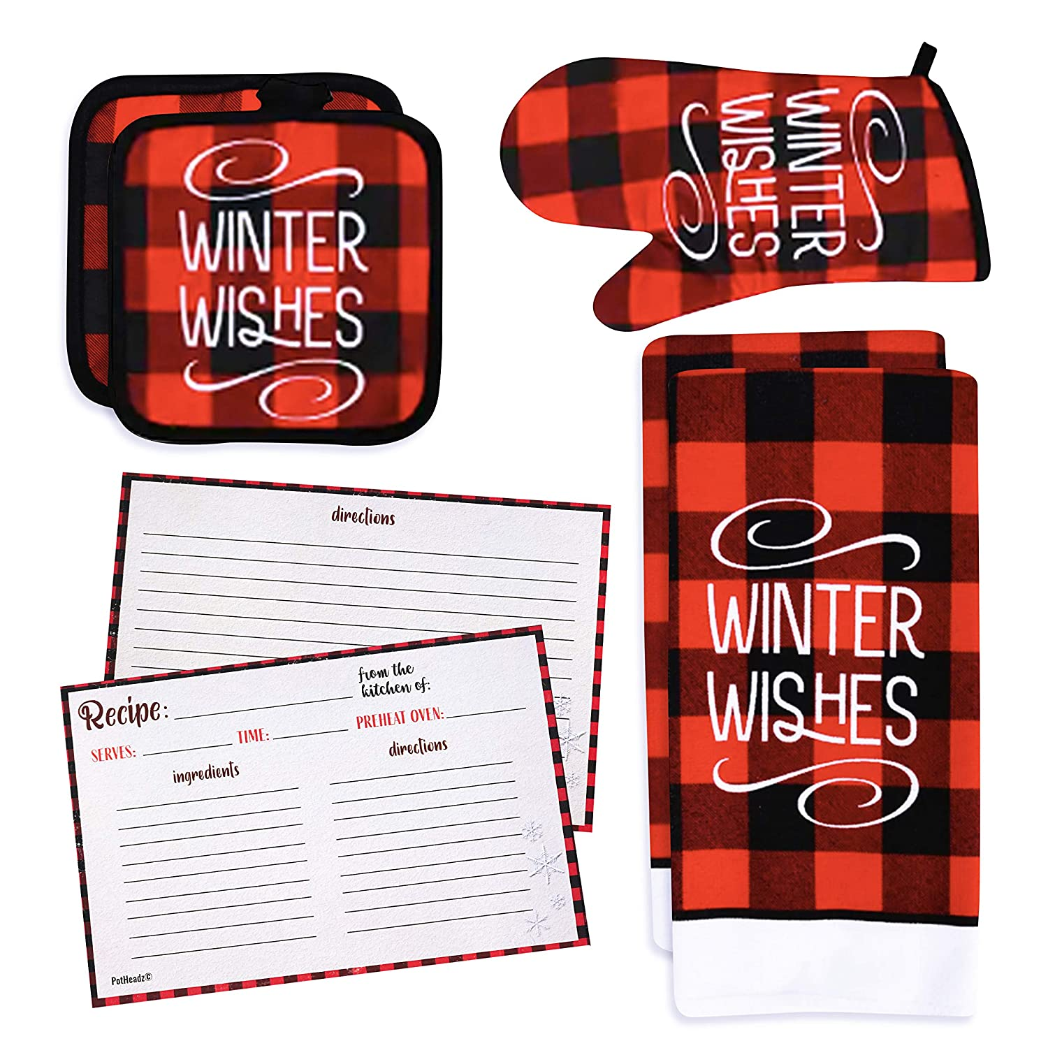 Buffalo Check Kitchen Towel Set with 2 Towels, Pot Holders, Oven Mitt Plus 4 x 6 Double Sided Recipe Cards (Set of 25) | Modern Farmhouse Decor Set (Winter Wishes)