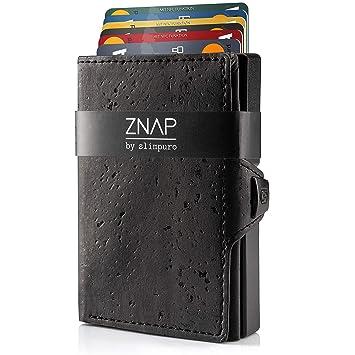 8dddaf99c10c1 ZNAP Kreditkartenetui mit Geldklammer Aluminium und Münzfach – RFID Schutz  – Slim Wallet Schwarz – Kartenetui