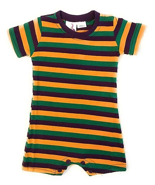Amazon.com: Mardi Gras bebé Pelele Body a rayas, bebé, 3 ...
