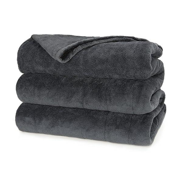 Sunbeam Heated Blanket | Microplush, 10 Heat Settings, Slate, Queen best queen sized electric blanket
