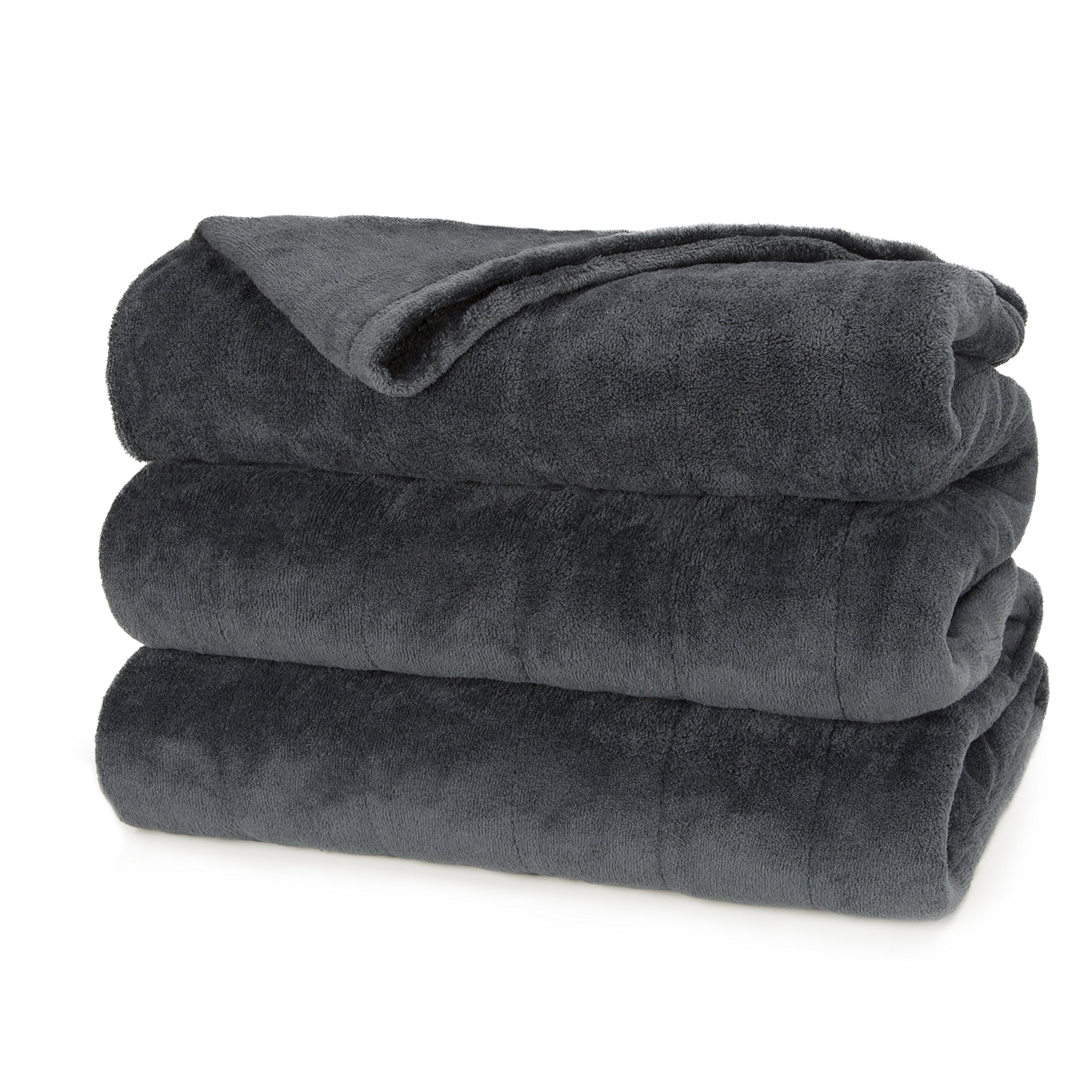 Sunbeam Heated Blanket   Microplush, 10 Heat Settings, Slate, Queen