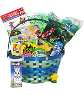 Amazon video game themed candy and toy easter gift basket mario video game themed easter candy toy gift basket with marshmallow peeps negle Gallery