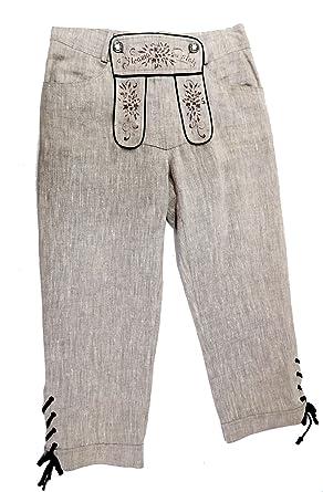 Country Line Damen Leinenhose Trachtenhose 3 4 beige mit Stickerei und Latz  Gr.36 e2ae906d9d