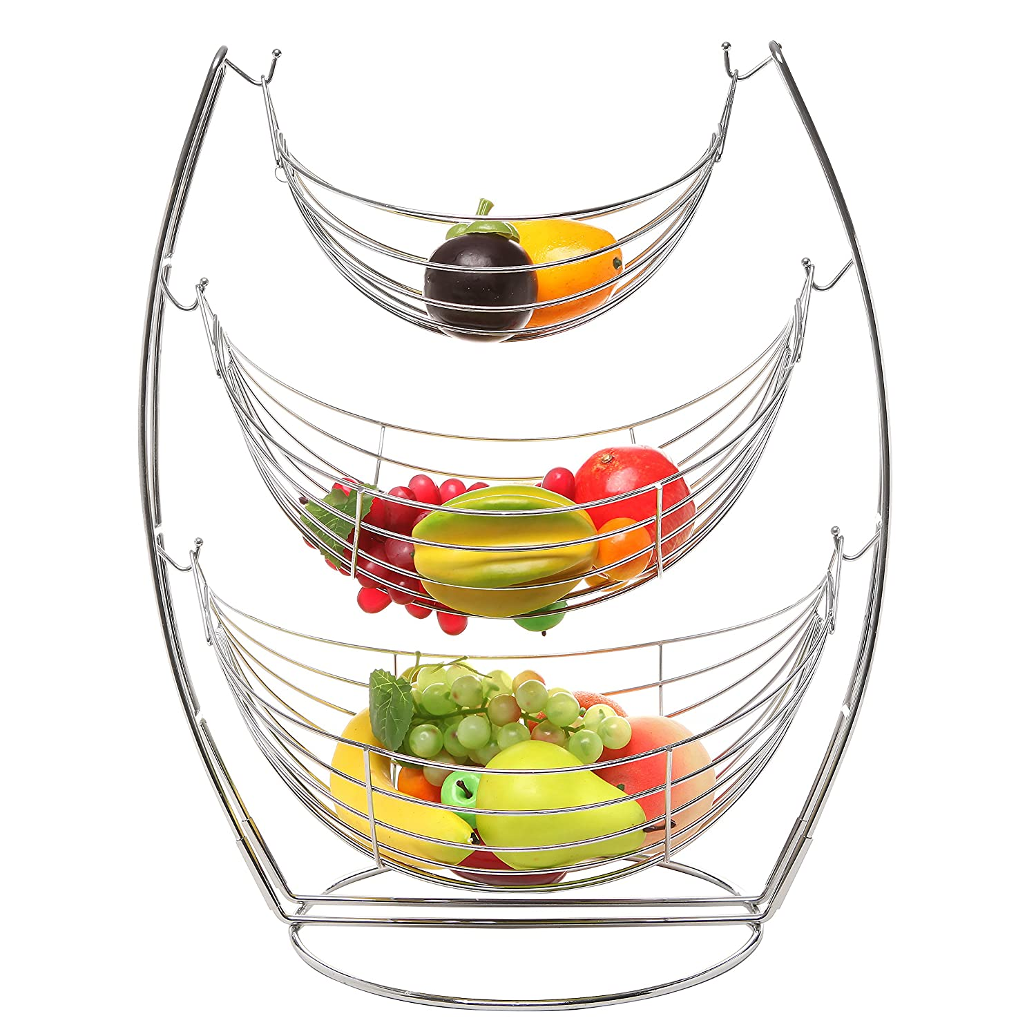 Very best Amazon.com: MyGift 3 Tier Chrome Triple Hammock Fruit/Vegetables  UO61