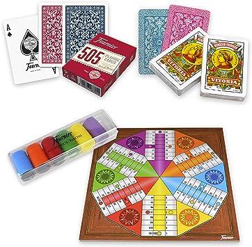 Juegos de Mesa Pack de Baraja Española, Baraja Póker, Parchís 6 Jugadores y Fichas – Fournier |