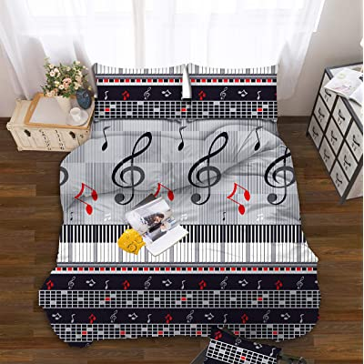 All American Collection Kids Boys Girls Teens Children Soft Comfortable Printed Fitted Flat Bedroom Bed Sheet Set (Twin, Black Music Notes): Home & Kitchen