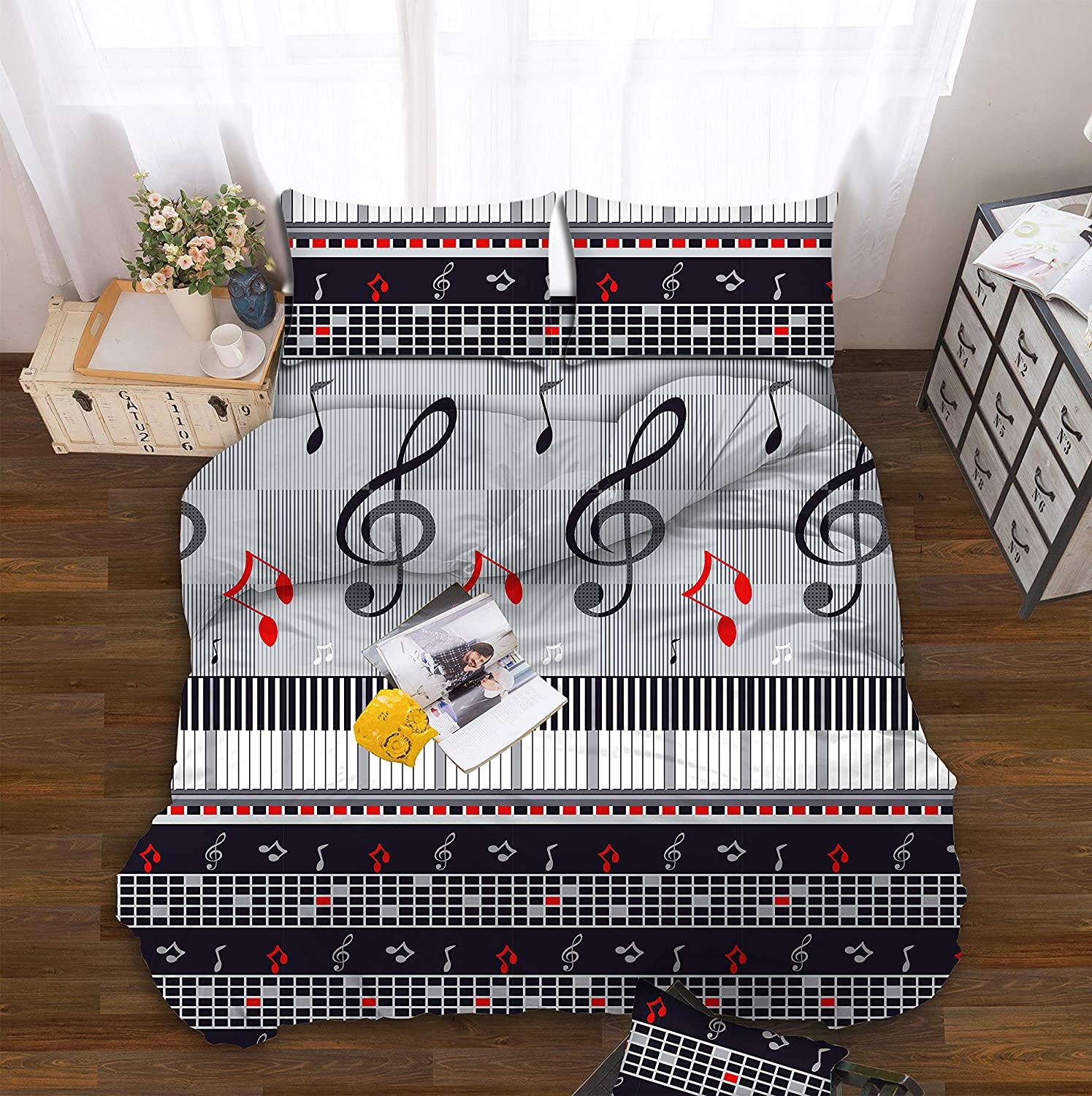 All American Collection Kids Boys Girls Teens Children Soft Comfortable Printed Fitted Flat Bedroom Bed Sheet Set (Full, Black Music Notes)