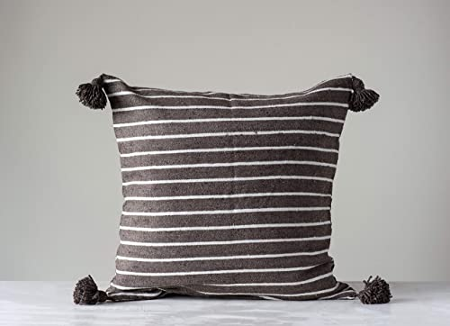 Creative Co-op Brown White Striped Brown Tassels Insert not Included Euro Sham, 25 Inch x 25 Inch