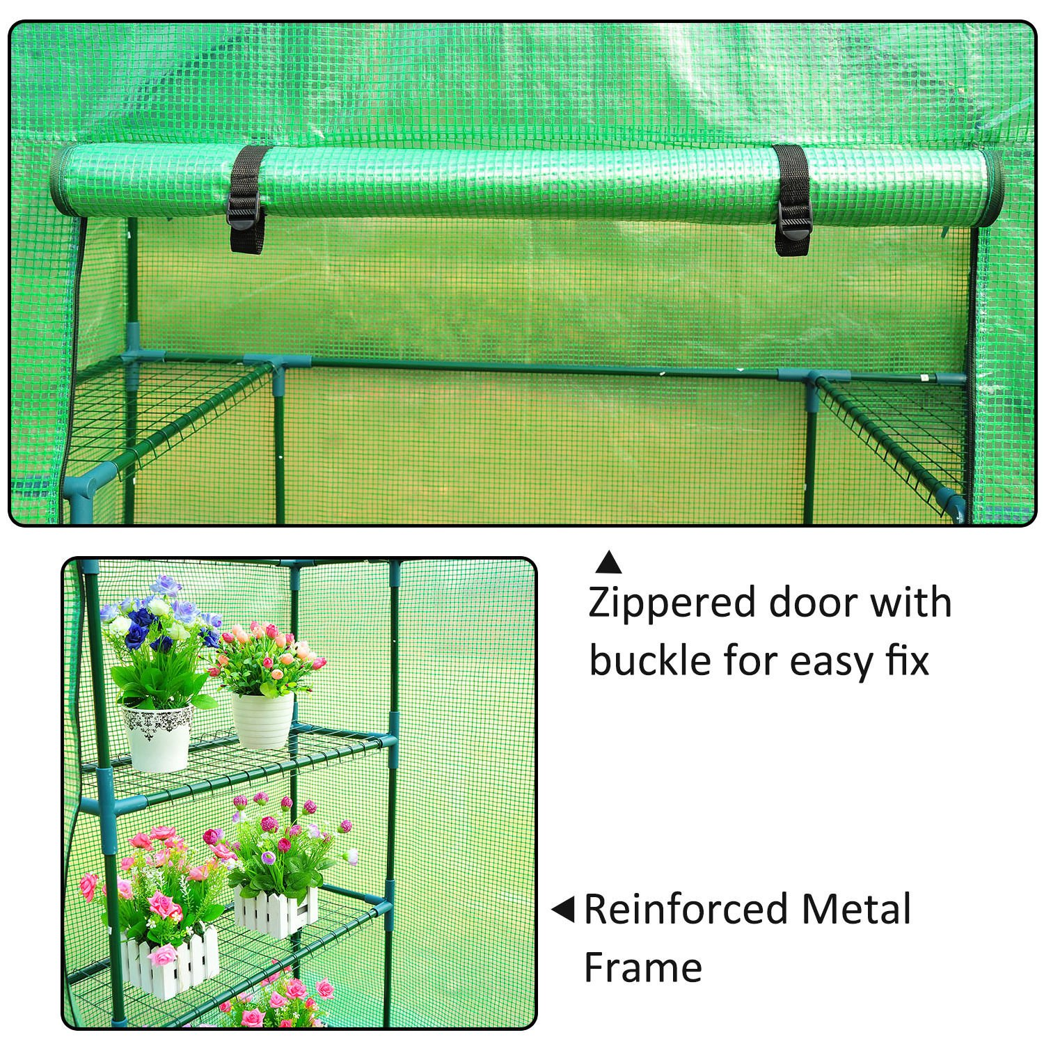 Outsunny 8' x 6' x 7' Outdoor Portable Walk-in Greenhouse by Outsunny (Image #3)