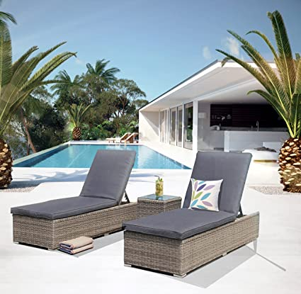 Lettini In Rattan Sintetico.Luxurygarden Set 2 Lettini Prendisole In Rattan Sintetico