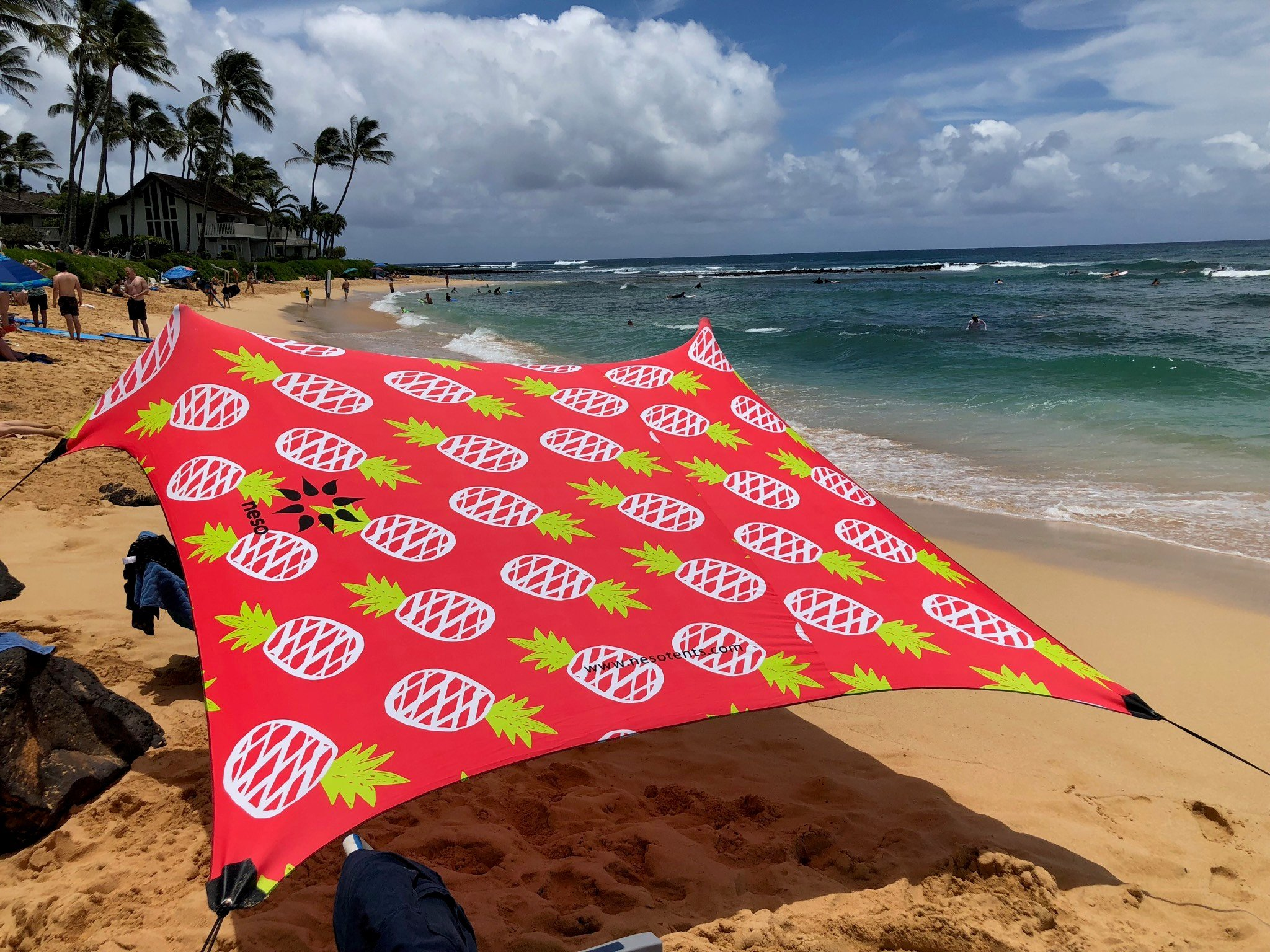 Neso Tents Beach Tent with Sand Anchor, Portable Canopy Sunshade - 7' x 7' - Patented Reinforced Corners(Pineapples) by Neso