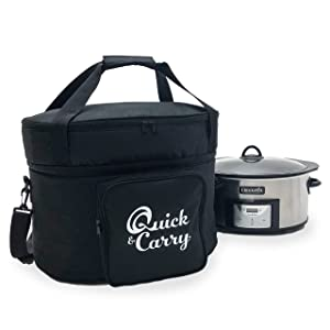 "Quick & Carry, Slow Cooker Travel Tote Bag for""Crock Pot"" and Most Oval Shape Slow Cookers, Padded Sides, Zippered Accessory Storage, Carrying Strap and Handle (Slow Cooker)"