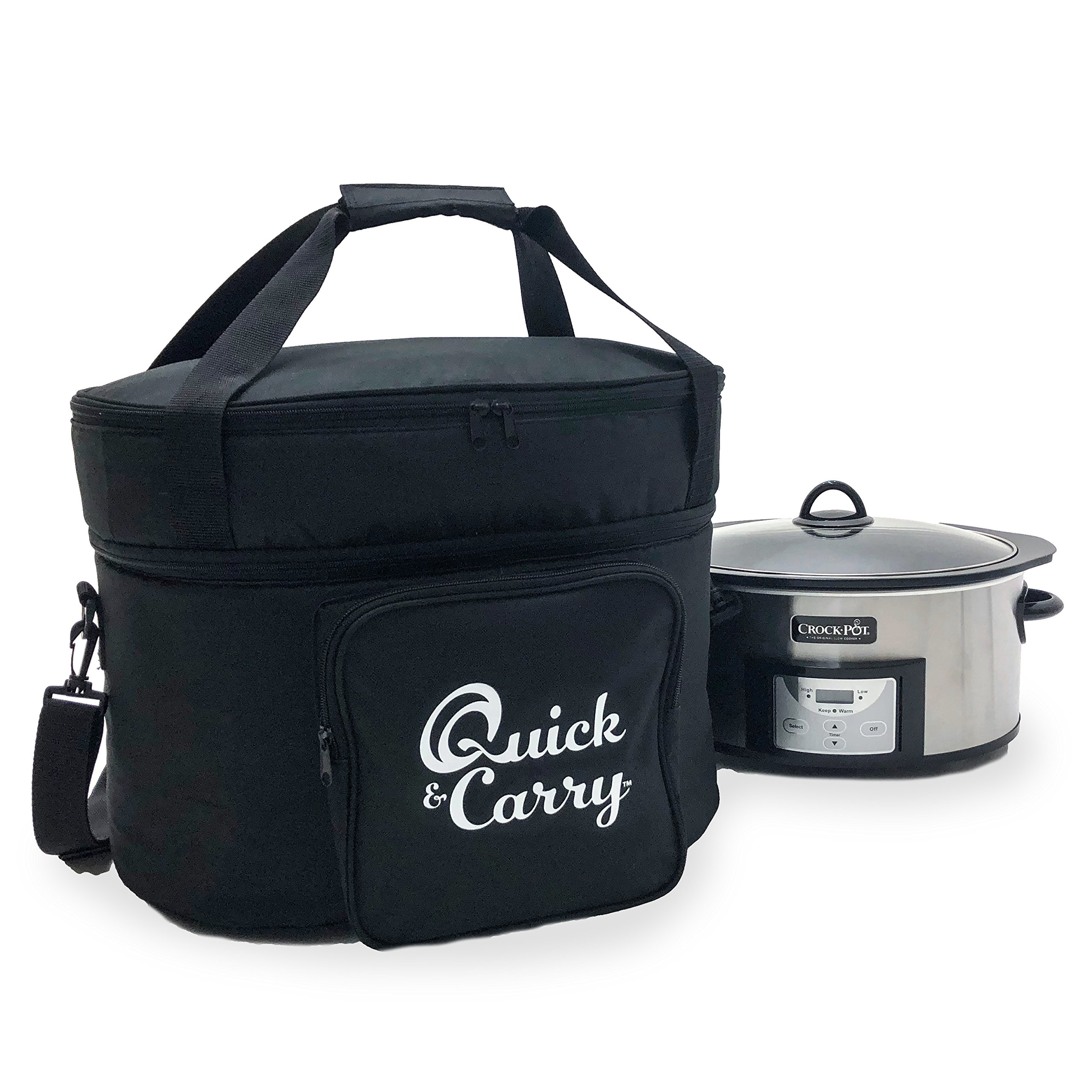Quick & Carry, Slow Cooker Travel Tote Bag for''Crock Pot'' and Most Oval Shape Slow Cookers, Padded Sides, Zippered Accessory Storage, Carrying Strap and Handle (Slow Cooker)