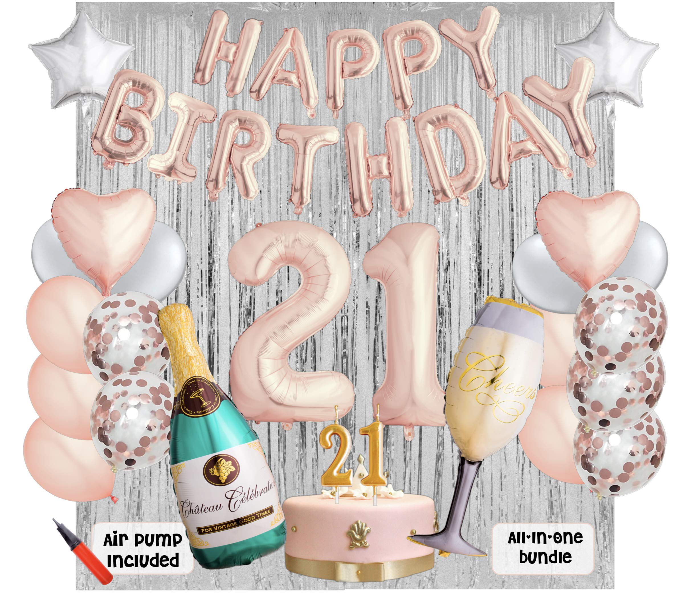 21st Birthday Party Balloons and Decoration Bundle - 43 Pieces Party Supplies and Balloons All in One Set - Rose Gold Happy Birthday Balloons, 21 Number Balloons, Air Pump