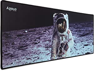 Apollo Gaming Mouse Pad, Large NASA Astronaut Space Design Microfiber Mousepad, 31.5×11.8×0.12in, Large XXL Extended Desk Mat. Computer Keyboard Mouse Mat Mousepad for Office/Gaming/Home