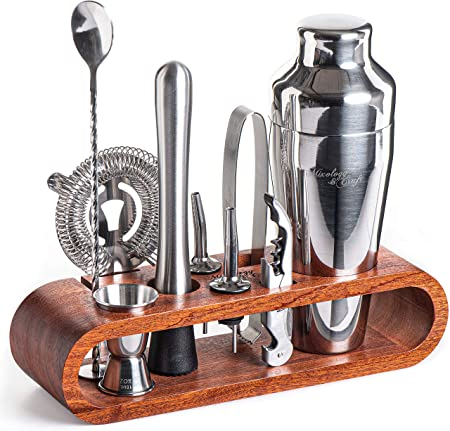 Mixology Bartender Kit 10-Piece Bar Tool Set with Stylish Mahogany Stand – Perfect Home Bartending Kit and Martini Cocktail Shaker Set For an Awesome Drink Mixing Experience – Exclusive Recipes Bonus