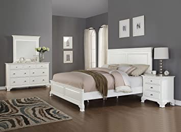 roundhill furniture laveno 012 white wood bedroom furniture set includes queen bed dresser - Wood Bedroom Sets