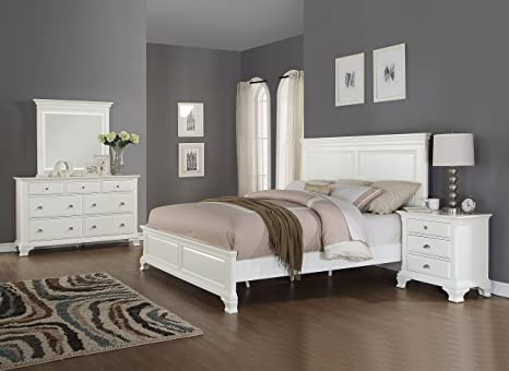quality design 634d5 11321 Roundhill Furniture Laveno 012 White Wood Bedroom Furniture Set, Includes  Queen Bed, Dresser, Mirror and Night Stand