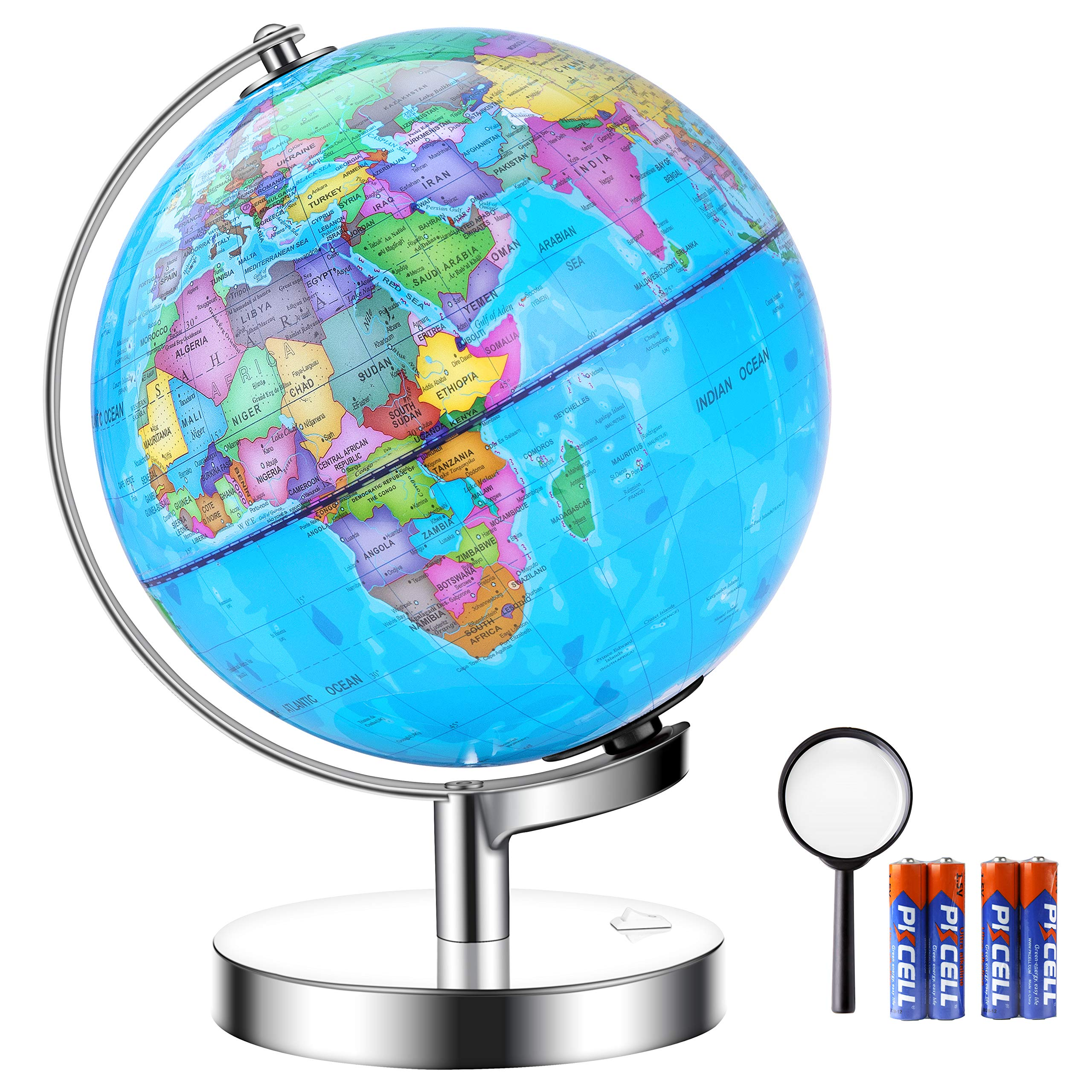 IKONG 8 inch Illuminated Globe of The World with Stand-Educational Globe Built in LED Light for Night View, Office Desktop World Globe,Magnifying Glass and 4 AA Batteries Included by IKONG