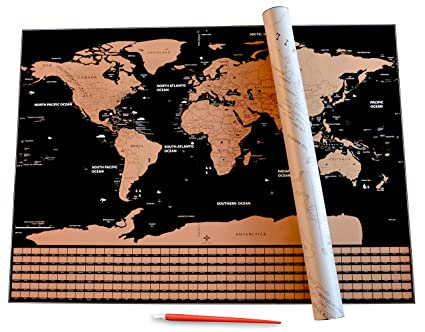 Amazon scratch off world map with us states country flags by scratch off world map with us states country flags by lumin us personalized gumiabroncs Image collections