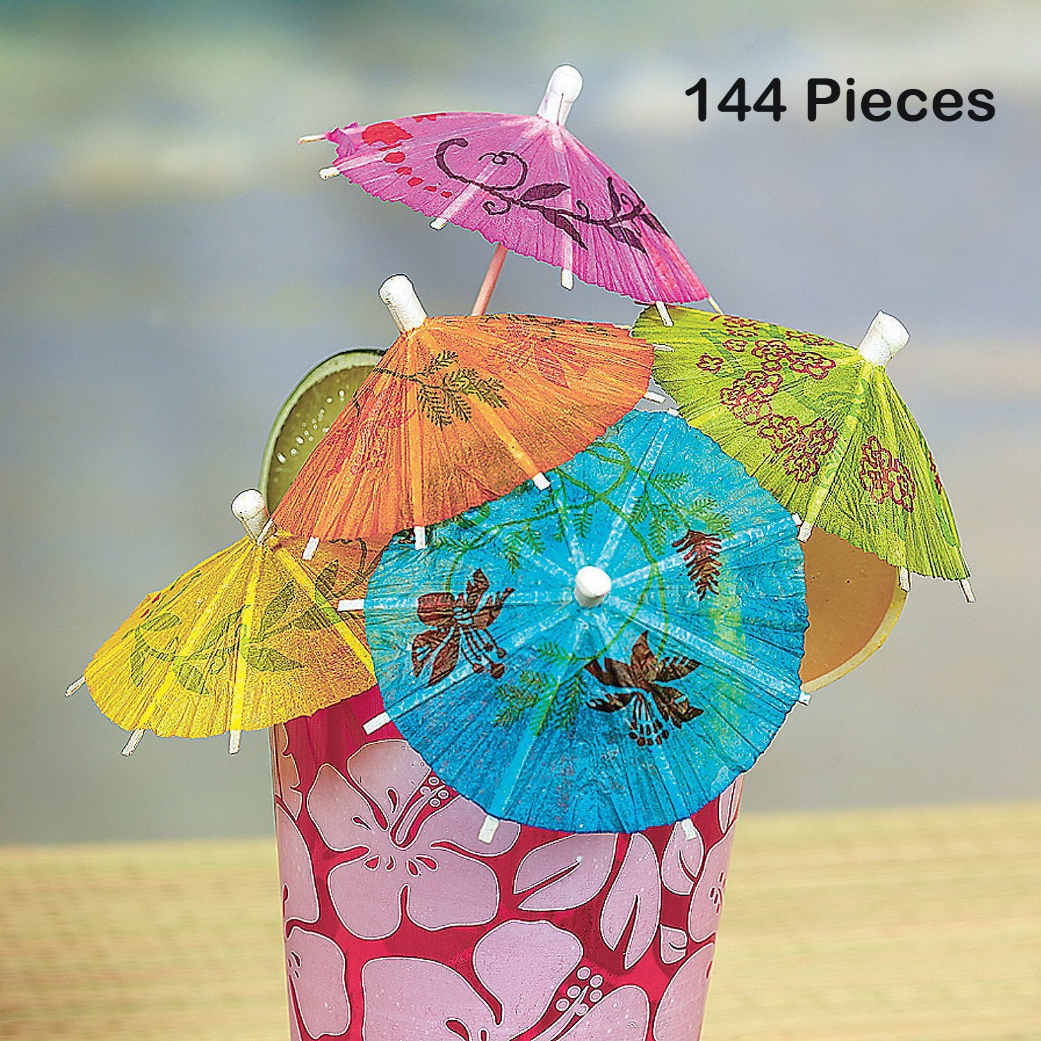 Cocktail Umbrellas On Wooden Stick – 144 Pieces – Umbrella 2'', Stick 4'' - Assorted Colors And Designs Drink Umbrellas Parasols – Caribbean, Hawaiian, Luau, Tropical, Bar, Parties – By Kidsco