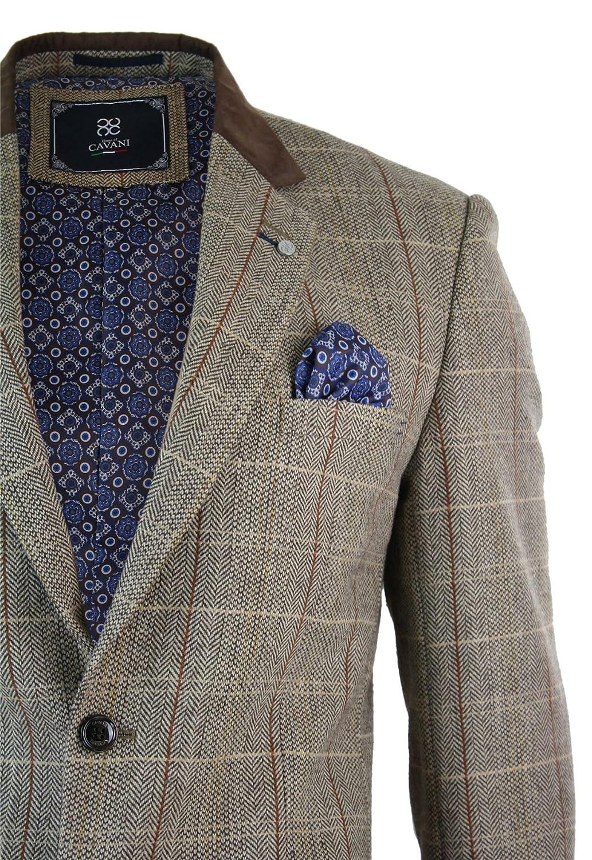 2305112f85428 Veste ou gilet homme style tweed à carreaux marron clair beige vintage  rétro  Amazon.fr  Vêtements et accessoires
