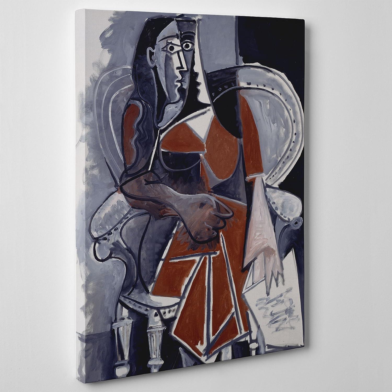 Cuadro sobre lienzo de estilo cubista inspirado en Pablo Picasso. Mujer sentada 1960. Listo para colgar. Arte moderno