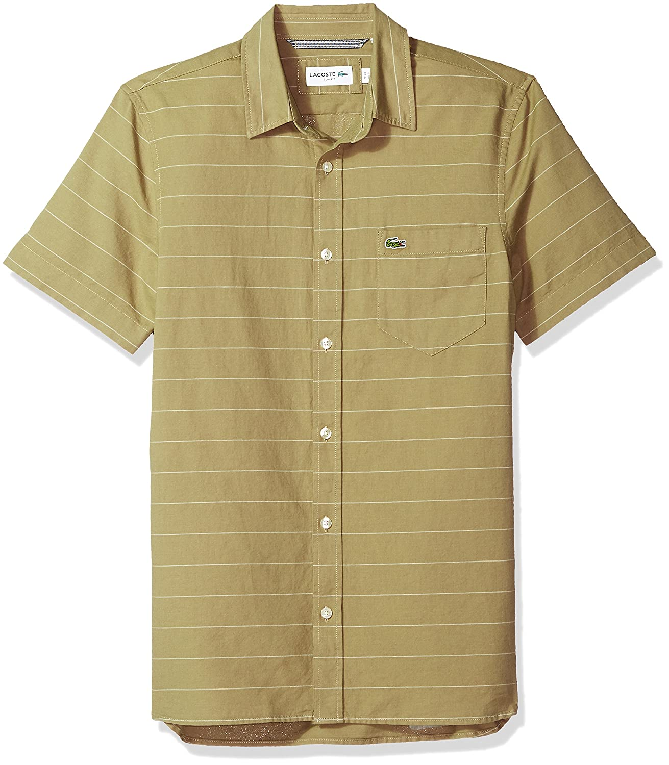 1f38ae78 Lacoste Men's Short Sleeve Striped Button Down Collar Slim Woven Shirt,  CH4966 70%OFF