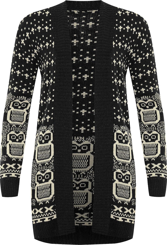 Chouette imprim/é Gilet Top tricot/é Ouvert avec Manches Longues WearAll Femmes Hauts Tailles 36 /à 42