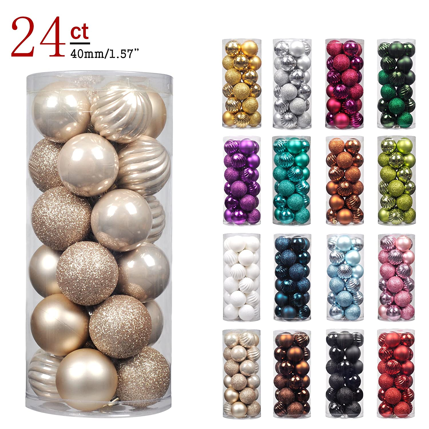 "KI Store 24ct Christmas Ball Ornaments Shatterproof Christmas Decorations Tree Balls Pastel for Holiday Wedding Party Decoration, Tree Ornaments Hooks included 40mm 4 Finished(1.57"" Champagne)"