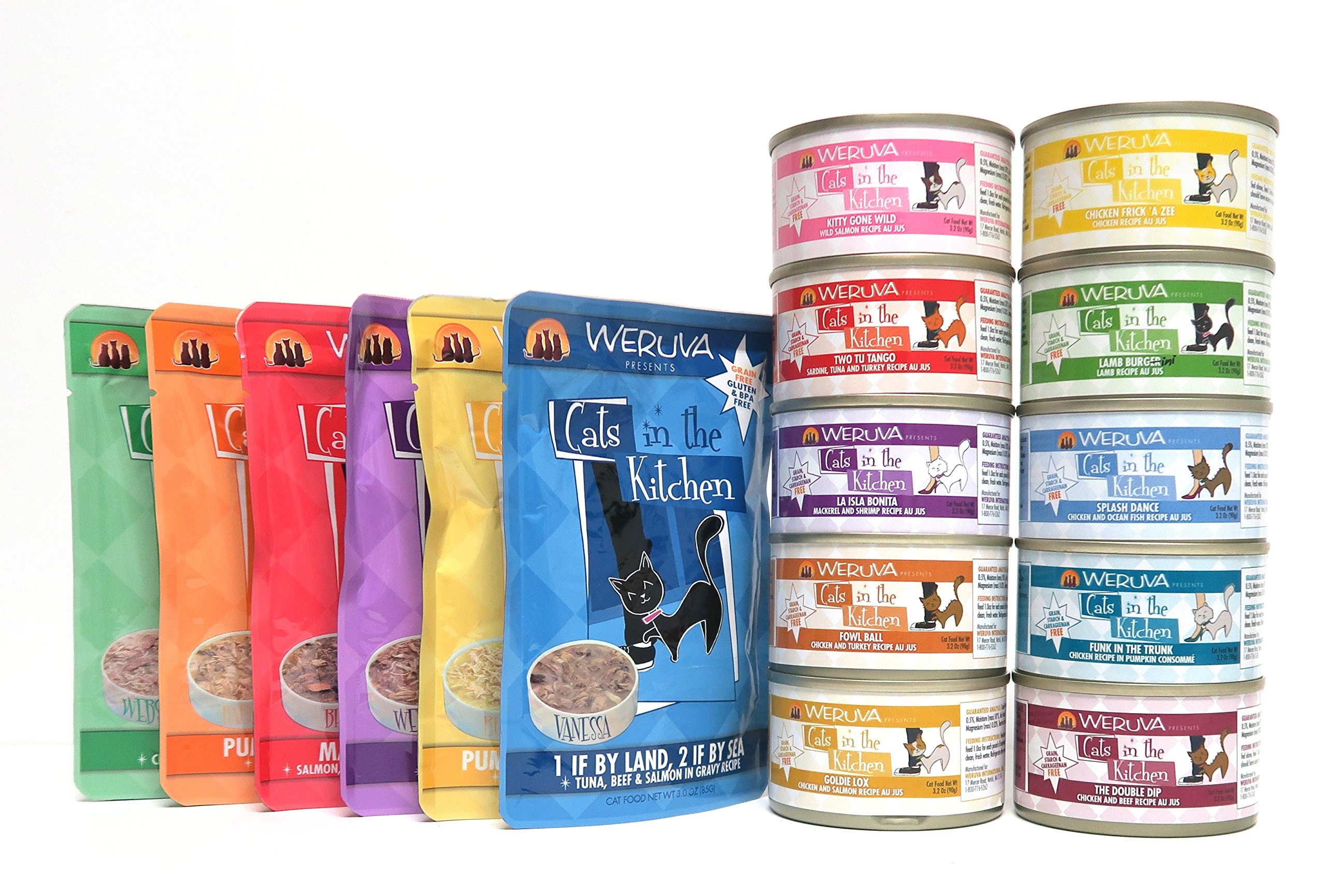Weruva Cats in the Kitchen Grain Free Wet Cat Food Variety Sampler Pack - 16 Flavors (10 Cans & 6 Pouches) - 3 Ounces Each (16 Total Items)