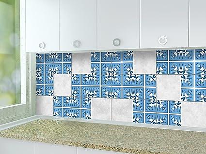 16pcs Autocollants de carreaux de cuisine Rayures Film de vinyle pour des id/ées de tuile de mur de salle de bains de diff/érentes tailles