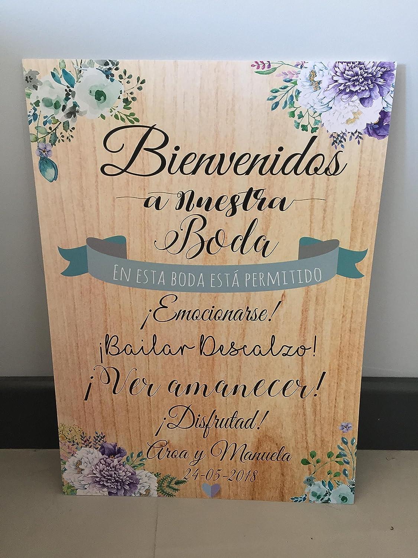 Cartel Bienvenidos a nuestra Boda Aquí comienza el Felices ...