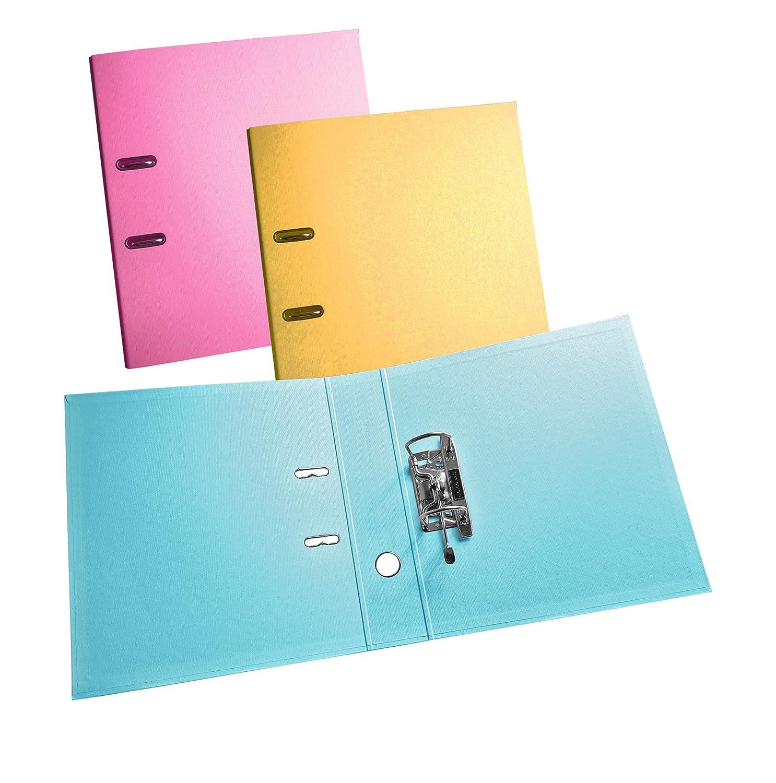 3 unidades - rosa/amarillo/azul pastel A4 Archivadores De Palanca. 70 mm lomo. PVC cubierto en & out: Amazon.es: Oficina y papelería