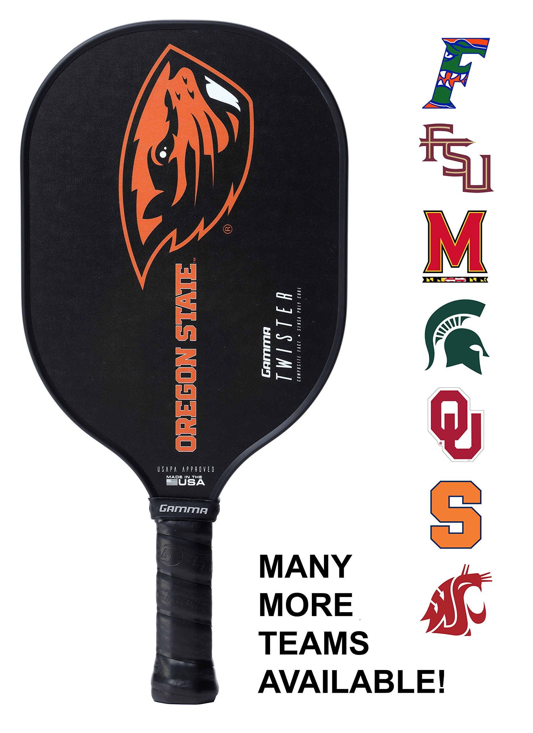 Gamma Collegiate Twister Composite Pickleball Paddle: Pickle Ball Paddles for Indoor & Outdoor Play - USAPA Approved Racquet for Adults & Kids - Oregon State Beavers