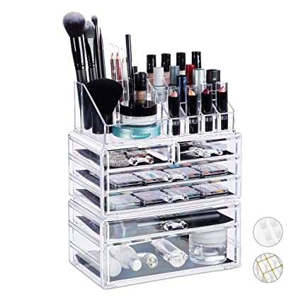 Relaxdays Organizador de Maquillaje con 6 Cajones, Acrílico ...