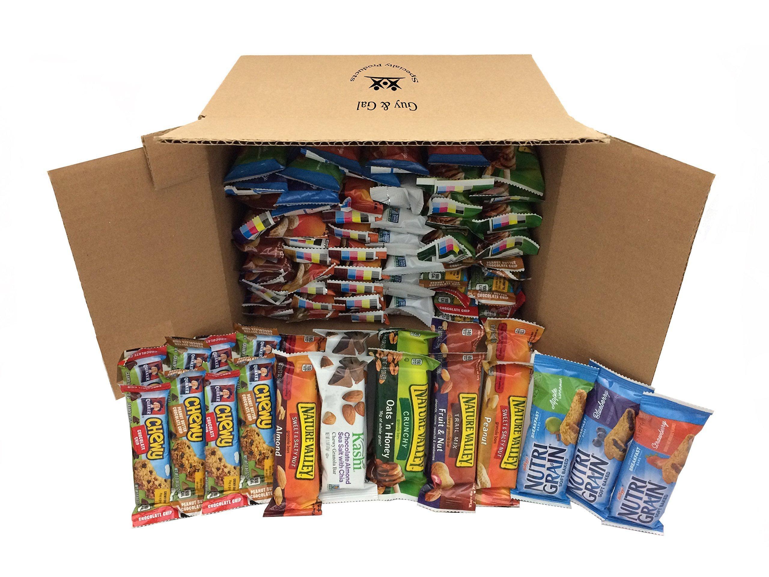 Healthy Bar Snack Mix - Sweet and Salty Granola Bar Variety Pack - Nature Valley, Kashi, Quaker - 72 Bar Bundle