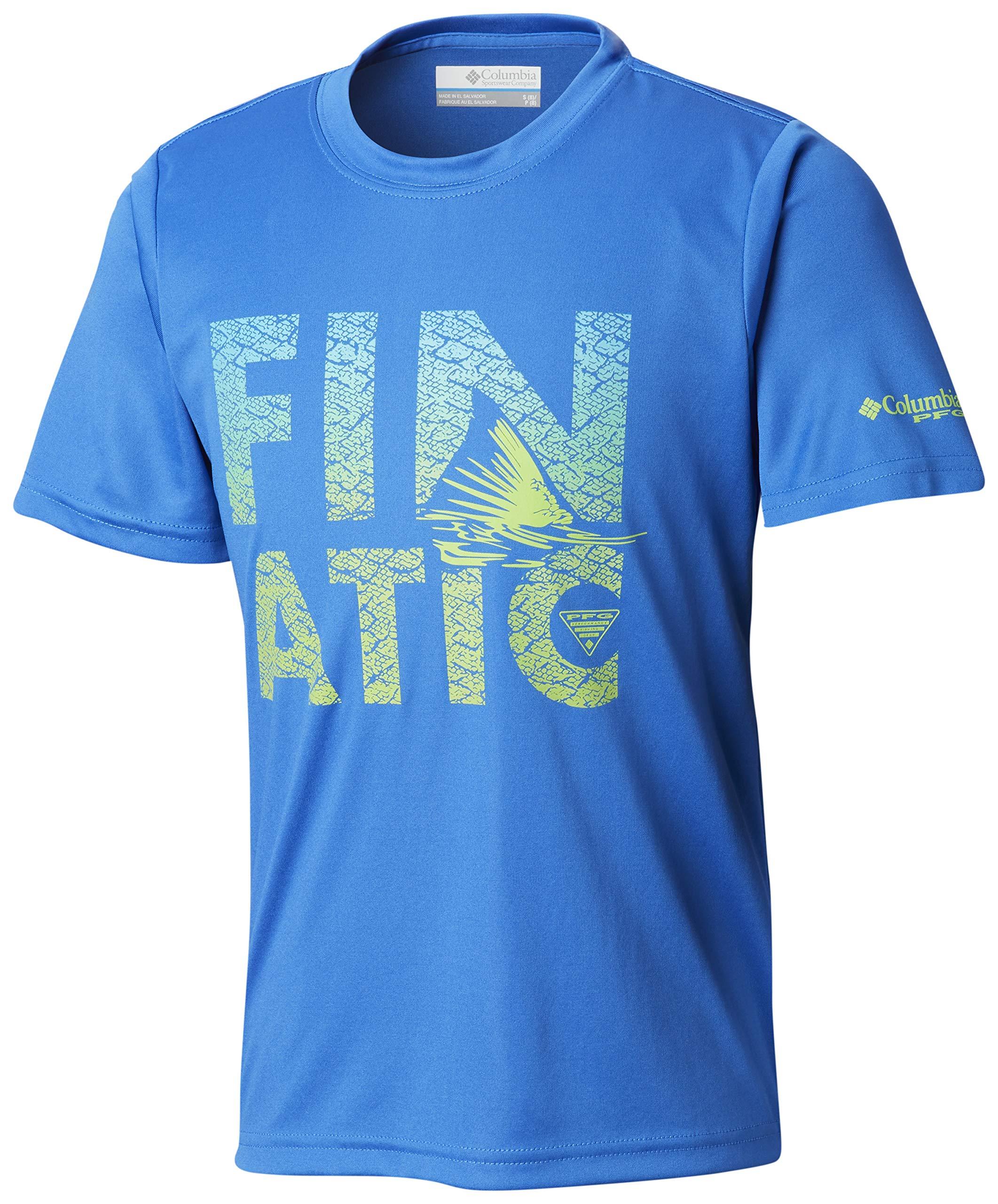 Columbia 1837201 Boys PFGFinatic Short Sleeve Shirt, Vivid Blue Finatic, X-Large