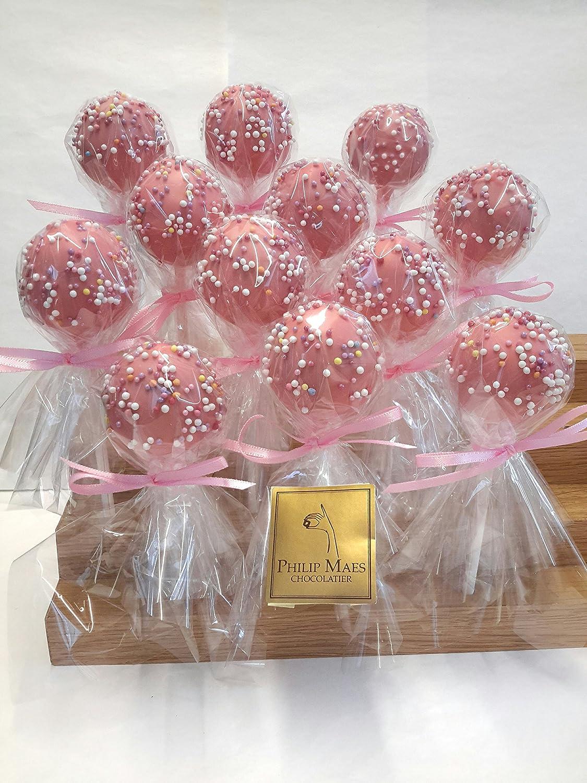 Handmade Belgian Pink Chocolate Lollipop balls for Baby Shower ...