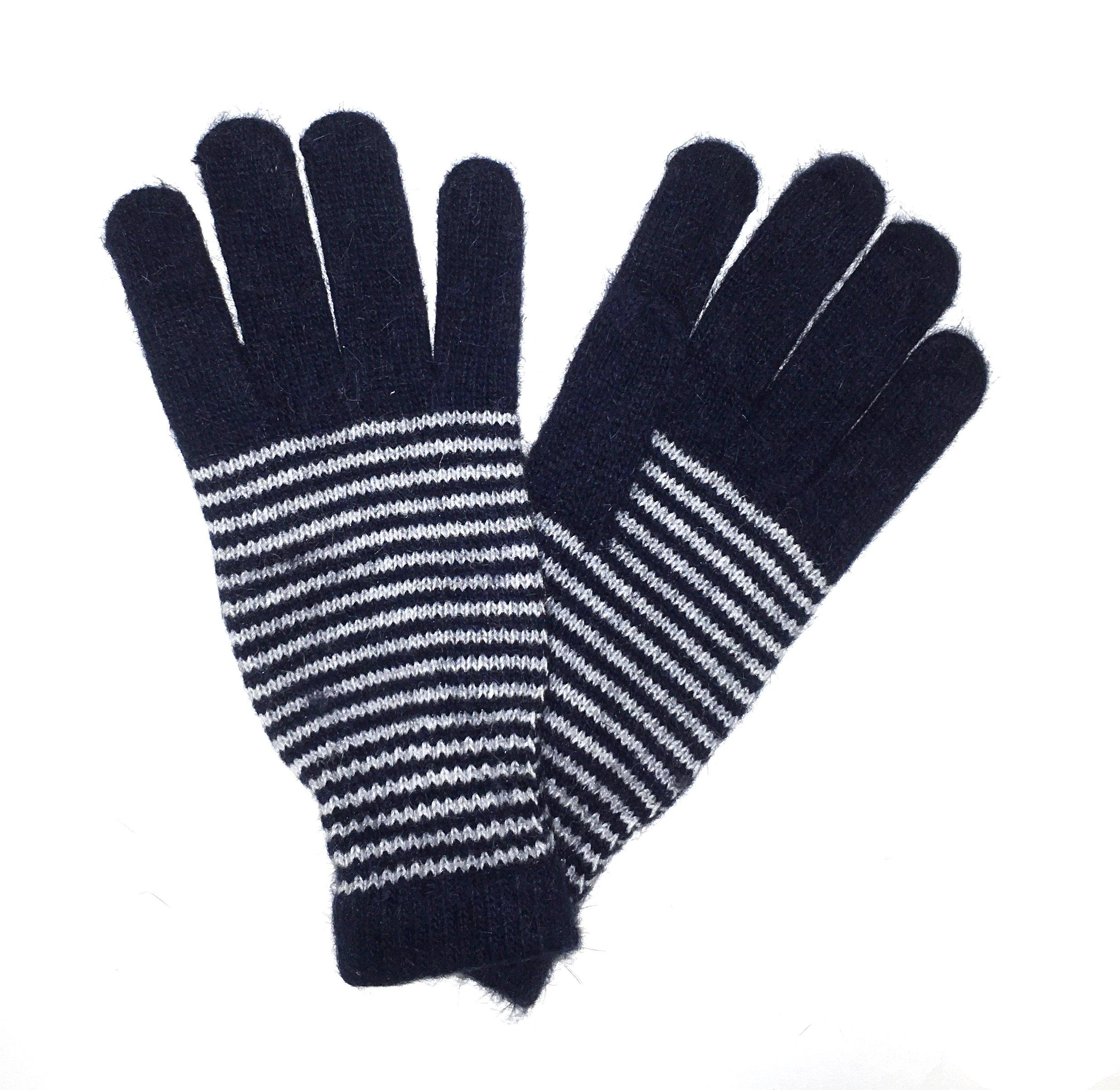 LL Adults Navy Stripe Angora Wool Blend Winter Gloves Men Women Trendy