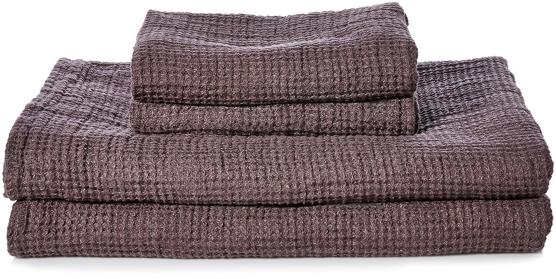 Linenme Lavado Toalla de baño Waffle diseño de 2 toallas de mano y 2 toallas de Big Big Set, conejo, juego de 4: Amazon.es: Hogar