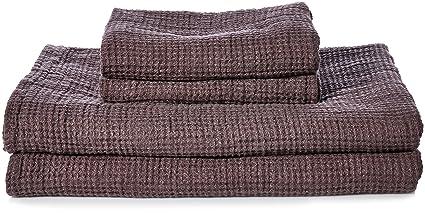 Linenme Lavado Toalla de baño Waffle diseño de 2 toallas de mano y 2 toallas de