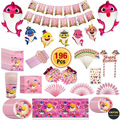 196 Pcs Pink Baby Shark Party Supplies Set Tableware Kit Birthday Decorations Balloons Tattoo Sticker: Toys & Games