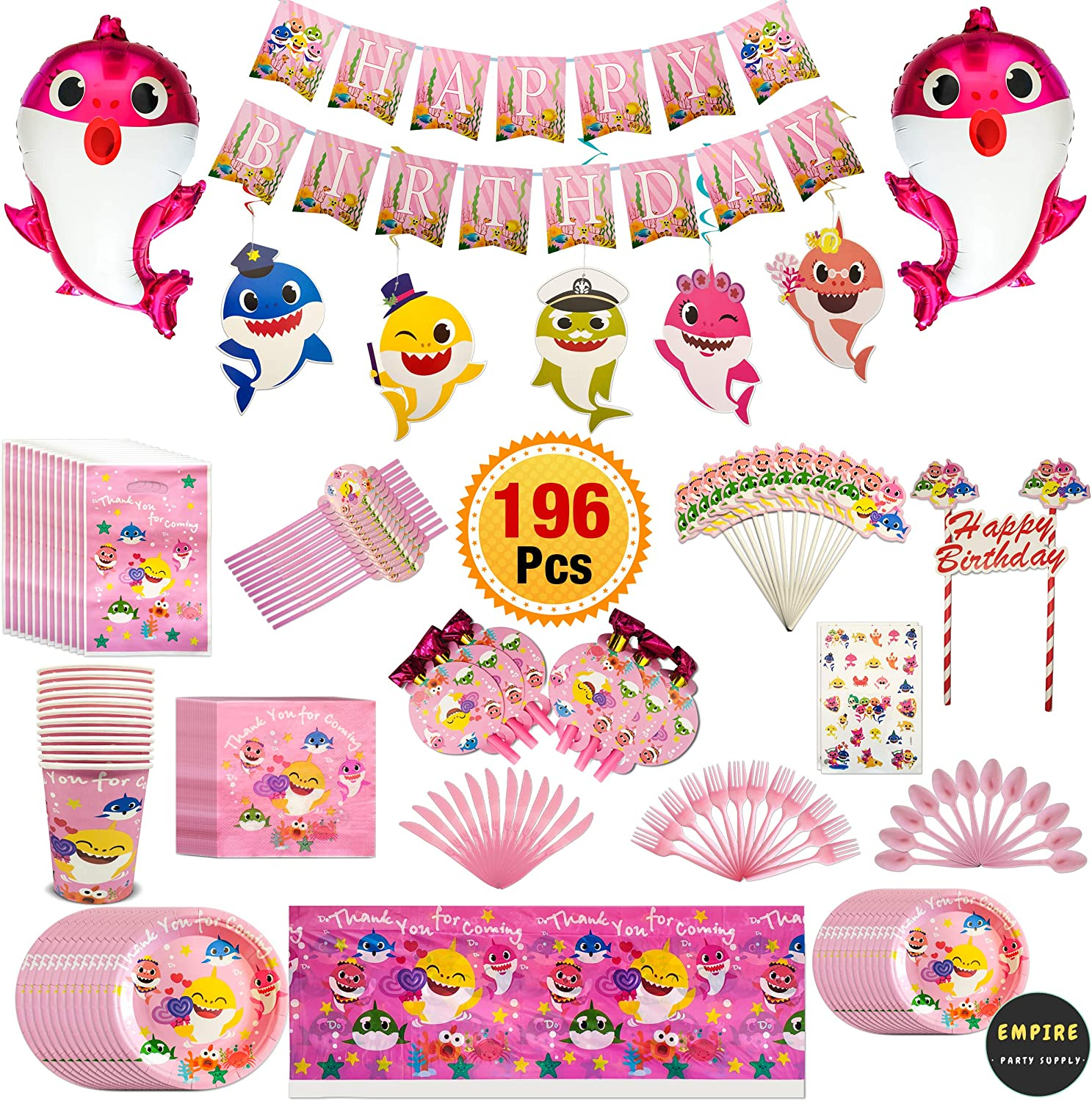 196 Pcs Pink Baby Shark Party Supplies Set Tableware Kit Birthday Decorations Balloons Tattoo Sticker