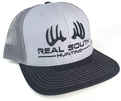 ad1862f5 Real South Hunting Richardson 112 Twill Mesh Snapback with 3D Logo (Grey,  Charcoal and Black with 3D Black Logo) at Amazon Men's Clothing store: