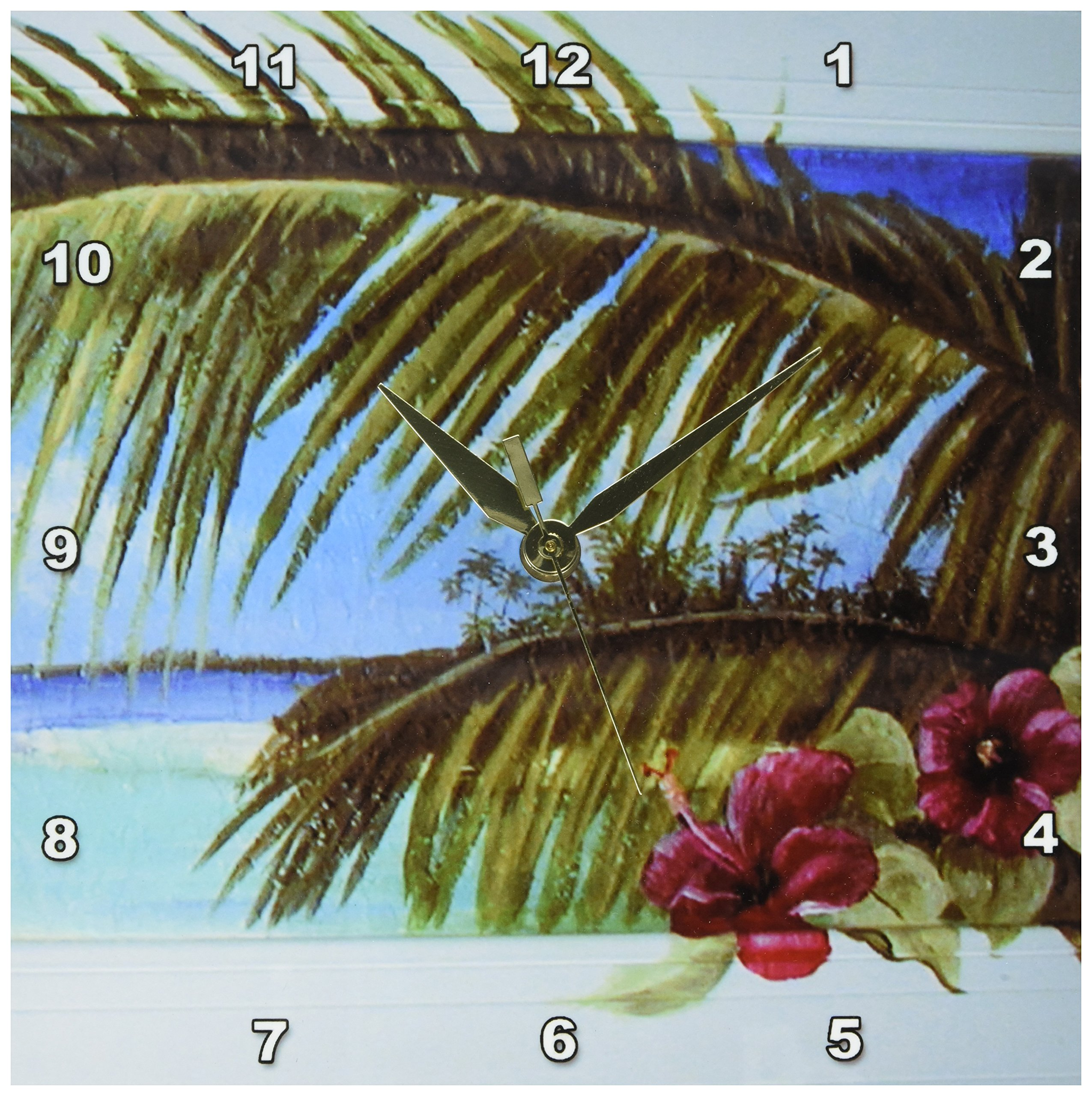 3dRose dpp_44367_1 Island Scene Looking Through Window with Hibiscus Flowers and Palm Leaves on Textured Background Wall Clock, 10 by 10-Inch