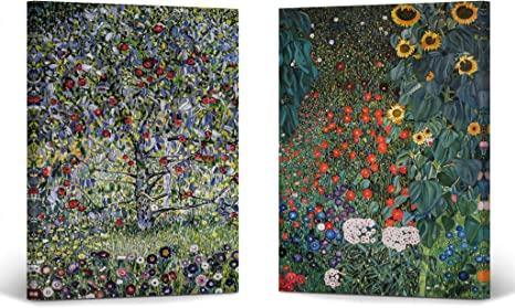Amazon Com Smile Art Design Apple Tree I Country Garden With Sunflowers By Gustav Klimt 2 Piece Set Canvas Print Wall Famous Oil Paintings Modern Art Home Decor Ready To Hang Made
