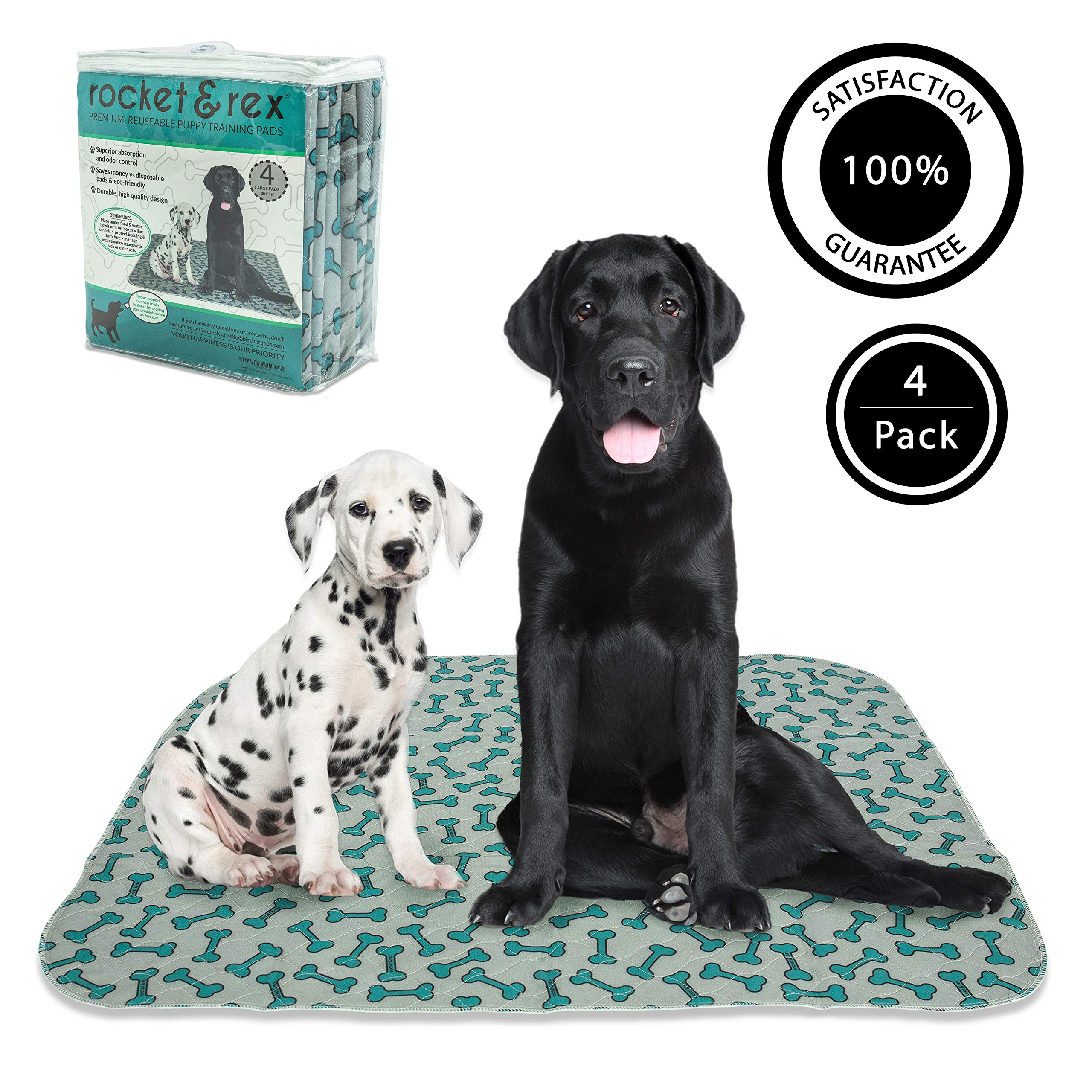 rocket & rex Washable, Reusable, Puppy Pee Pads, Pet Training Waterproof Pads. 4-Pack (x-Large). Leak-Proof and Absorbent. Whelping, Incontinence, Travel, Bed Wetting, Mattress Protector.