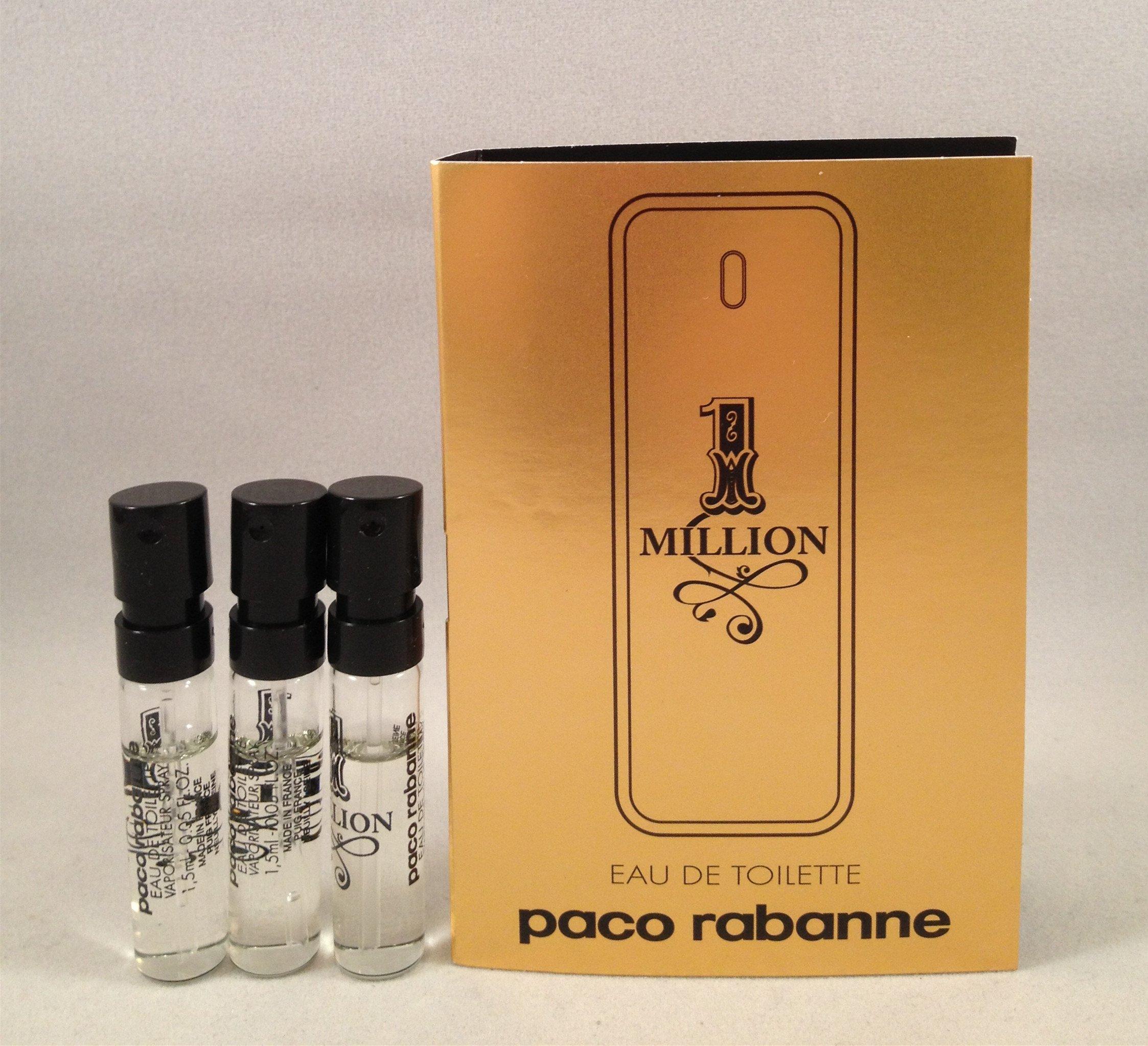 Paco Rabanne Invictus Eau De Toilette Samples 4 Vials 1 Million Man Fdt 100ml 3 One Men Edt 05 Oz 15 Ml Each Spray